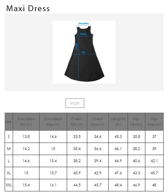 Maxi Dress Size Chart