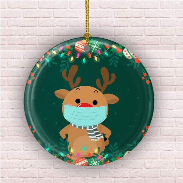 Cute Reindeer Wearing A Mask Decorative Christmas Ornament - Funny Holiday Gift