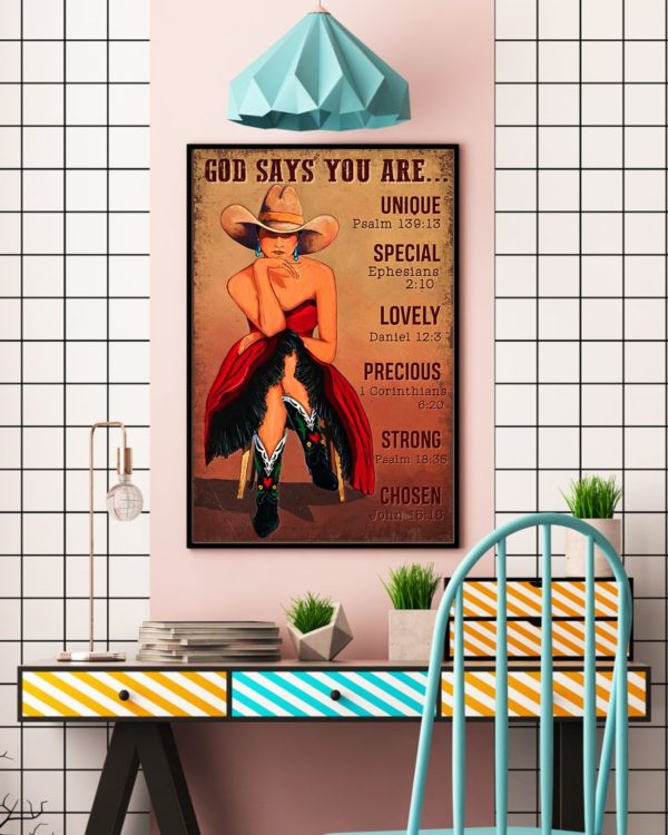 God Says You Are Unique Special Lovely Precious Vintage Poster, Canvas
