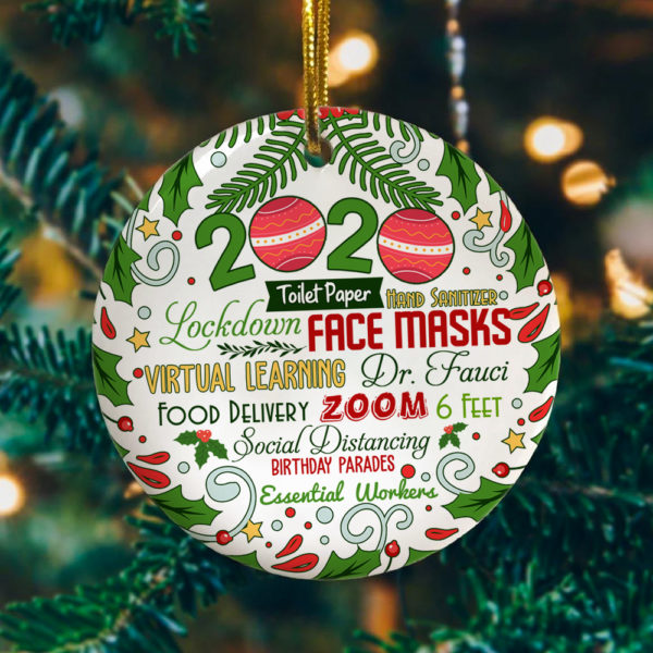 Funny 2020 Christmas Circle Ornament 2020 The Year We Never Forget Circle Ornament