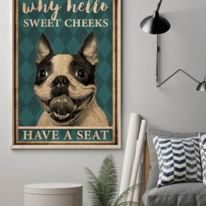 Boston Terrier Why Hello Sweet Cheeks Vintage Poster, Canvas
