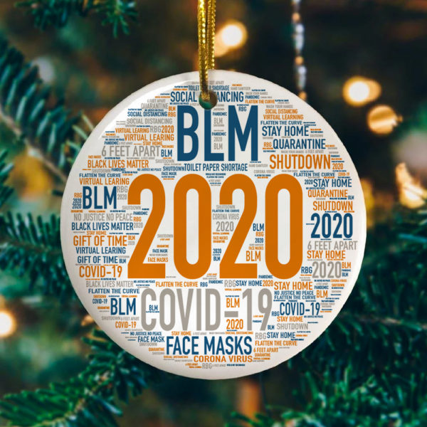 2020 Christmas Quarantined Year In Review Decorative Christmas Ornament - Funny Christmas Holiday Gift