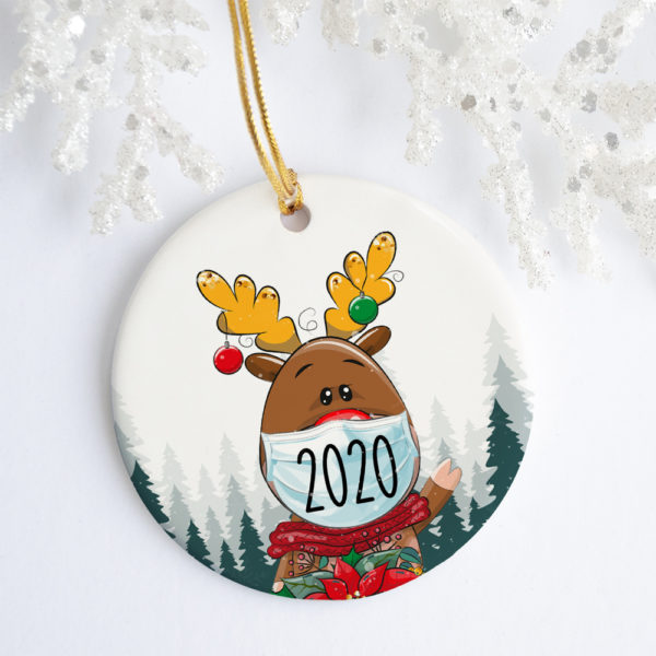 Reindeer Wearing Mask Christmas Quarantine 2020 Ornament - Pandemic 2020 Decorative Christmas Ornament