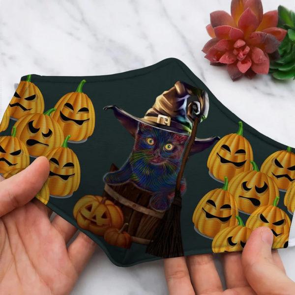 Pumpkin And Bat Black Cat Halloween Face Mask