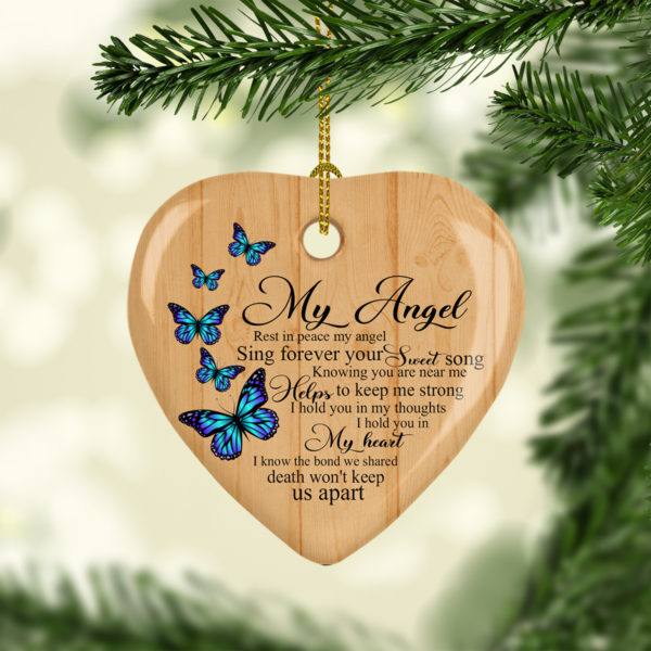Butterfly Rest In Peace My Angel Sing Forever Your Sweet Song Memorial Remembrance Ornament