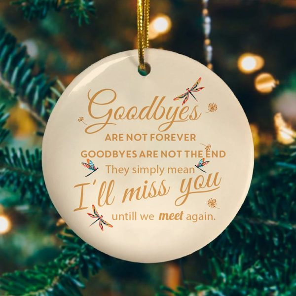 Dragonfly Goodbyes Are Not Forever Decorative Ornament - Funny Holiday Gift