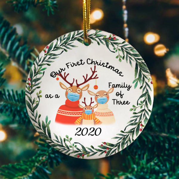 First Christmas Family Of Three Reindeer With Mask Decorative Christmas Ornament - Funny Holiday Gift