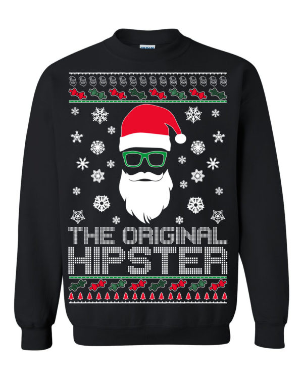 The Original Hipster Santa Claus Ugly Christmas Sweater