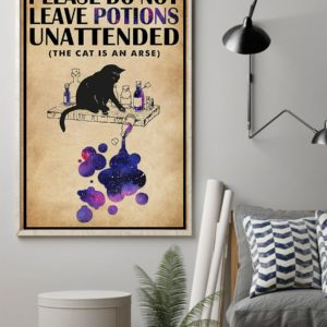 Please Do Not Leave Potions Unattended Black Cat Vintage Poster, Canvas