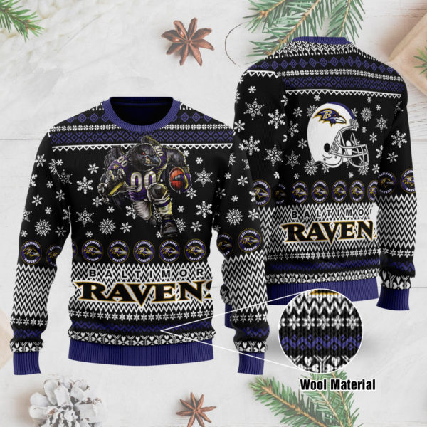 Baltimore Ravens 3D Printed Ugly Christmas Sweater