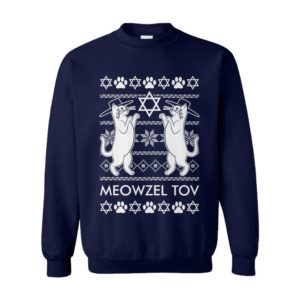 Meowzel Tov Cats Menorah Dreidel L'Chaim Ugly Hanukkah Sweater
