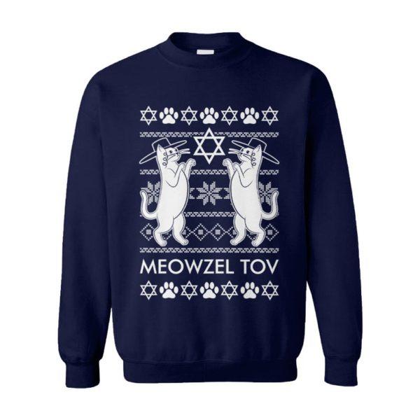 Meowzel Tov Cats Menorah Dreidel L'Chaim Ugly Hanukkah Sweater