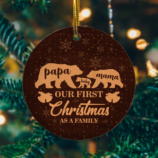 Mama Papa Baby Bear Christmas Ornament 2020 - Our First Christmas As A Family Of Three Ornament