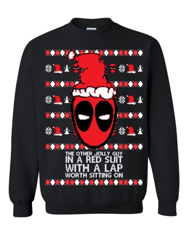 Funny Deadpool The Orther Jolly Guy In A Red Suit With A Lap Worth Sitting On Ugly Christmas Sweater