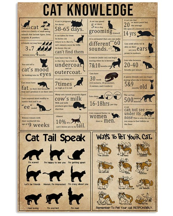 Cat Knowledge Vintage Poster, Canvas
