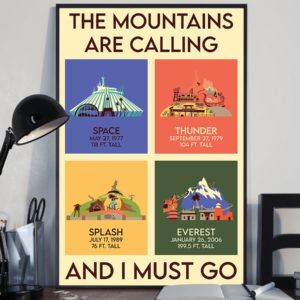 The Mountains Are Calling And I Must Go Vintage Poster, Canvas