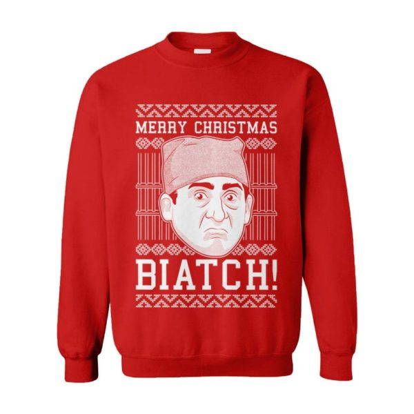 Merry Christmas Biatch! Prison Mike Ugly Christmas Sweater