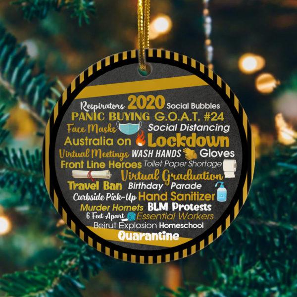 Engraved 2020 Events Quarantine Pandemic Christmas Flat Holiday Circle Ornament