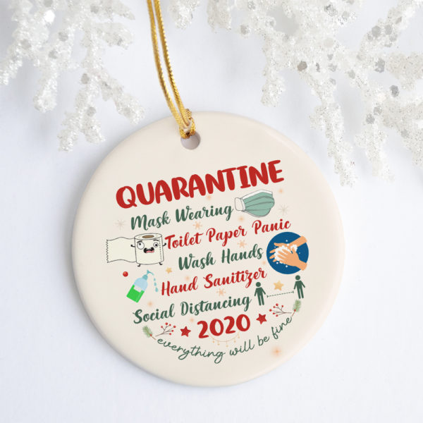 2020 Quarantine Christmas Funny Christmas Ornament Keepsake - Circle Porcelain Ornament