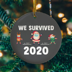 2020 Social Distance We Survived Santa Deer Elf Decorative Christmas Ornament - Funny Holiday Gift