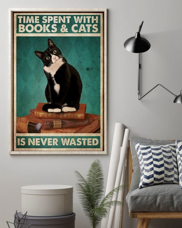 Black Cat Time Spent With Books And Cats Is Never Wasted Vintage Poster, Canvas