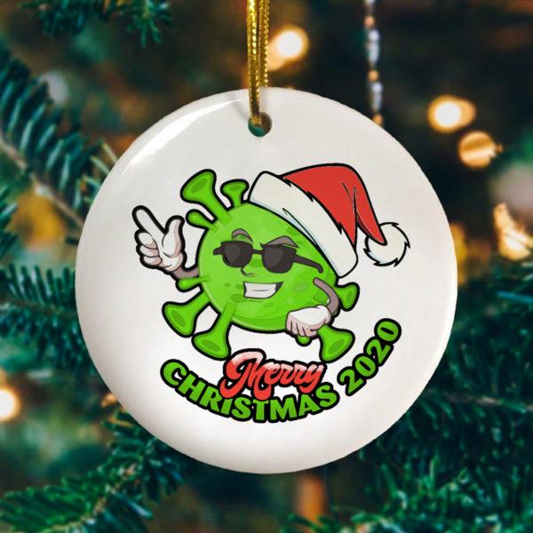 Funny Merry Christmas 2020 Covi-19 Pandemic Christmas Flat Holiday Circle Ornament