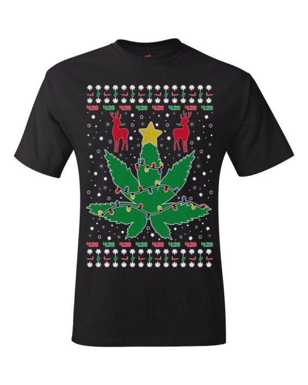 Marijuana Leaf 420 Weed Ugly Christmas Sweater