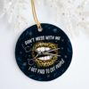 Lips Leopard I Get Paid To Cut People Circle Ornament Keepsake - Funny Barber Hair Stylist Gifts Ornament