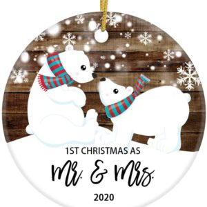 1ST Christmas As Mr & Mrs 2020 Christmas Newlywed Ornament