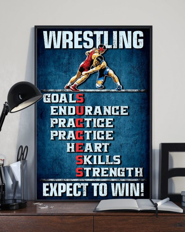 Wrestling Goals Skills Strength Expect To Win Vintage Poster, Canvas