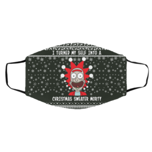 Rick and Morty I Turned My Self Into A Christmas Sweater Morty Ugly Christmas Face Mask