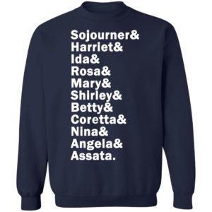 Sojourner Harriet Ida Rosa Mary Shirley Betty Coretta Nina Angela Assata Shirt, LS, Hoodie