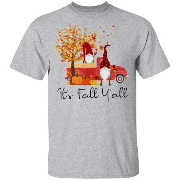It's Fall Y'all Cute Gnomes Pumpkin Autumn Tree Fall Shirt
