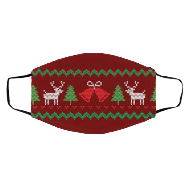 Ugly Christmas Sweater Seamless Red Face Mask