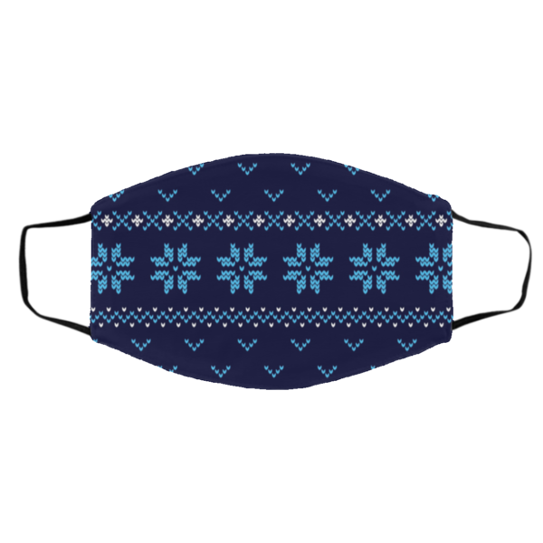 Ugly Christmas Sweater Seamless Blue Face Mask