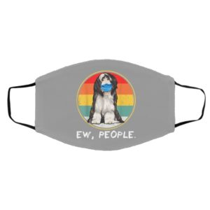 Vintage Ew People Bearded Collie Dog Wearing Face Mask