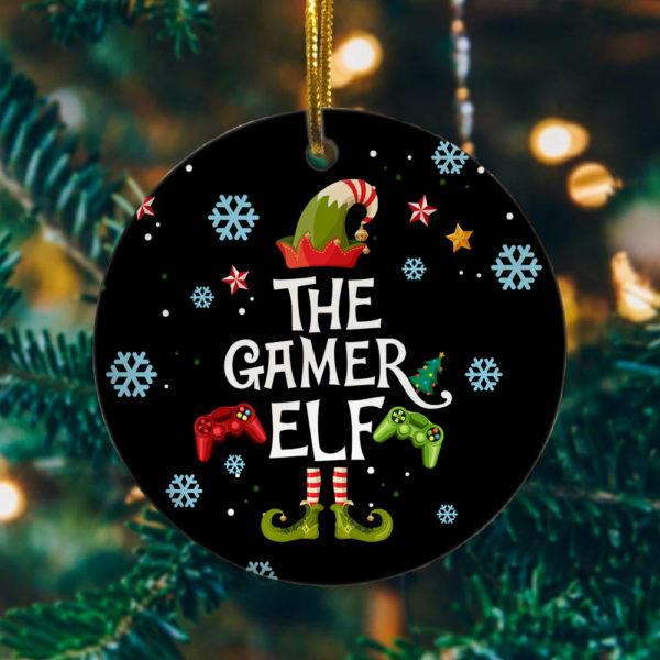 Gamer Elf Decorative Christmas Ornament - Family Matching Christmas Holiday Ornament