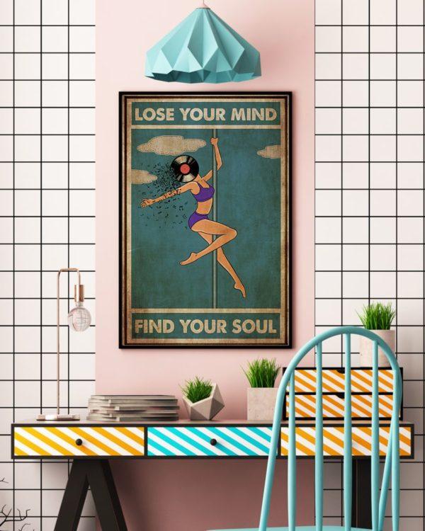 Pole Dance Lose Your Mind And Find Your Soul Vinyl Vintage Poster, Canvas
