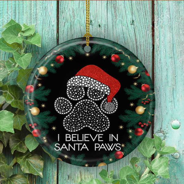 I Believe In Santa Paws Pet Lover Christmas Tree Circle Ornament Keepsake - Santa Paws Gifts Ornament