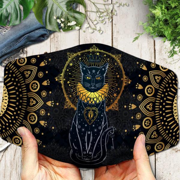 Ancient Egypt Black Cat Symbol Face Mask