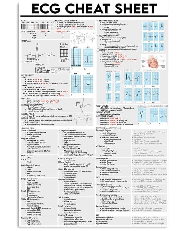 ECG Cheat Sheet Cardiologist Poster, Canvas