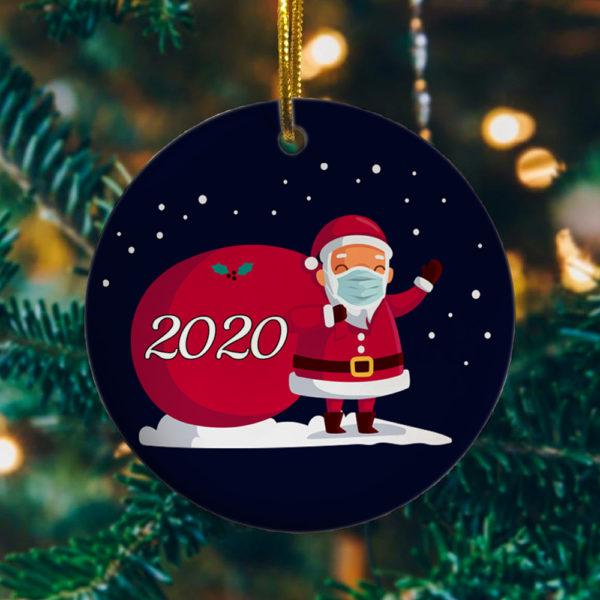 2020 Christmas Cute Santa Wear Mask With Gift Christmas Ornament - Keepsake Decorative Ornament - Funny Holiday Gift