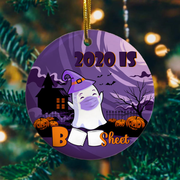 2020 Is Boo Sheet Cute Ghost Funny Halloween Circle Ornament Keepsake - Halloween Gift Ornament