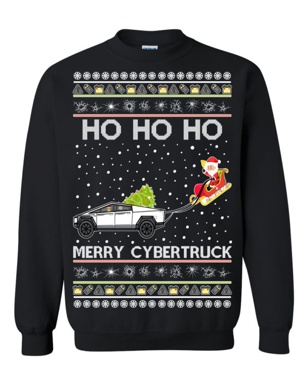 Tesla Merry Cybertruck Santa Ugly Christmas Sweater
