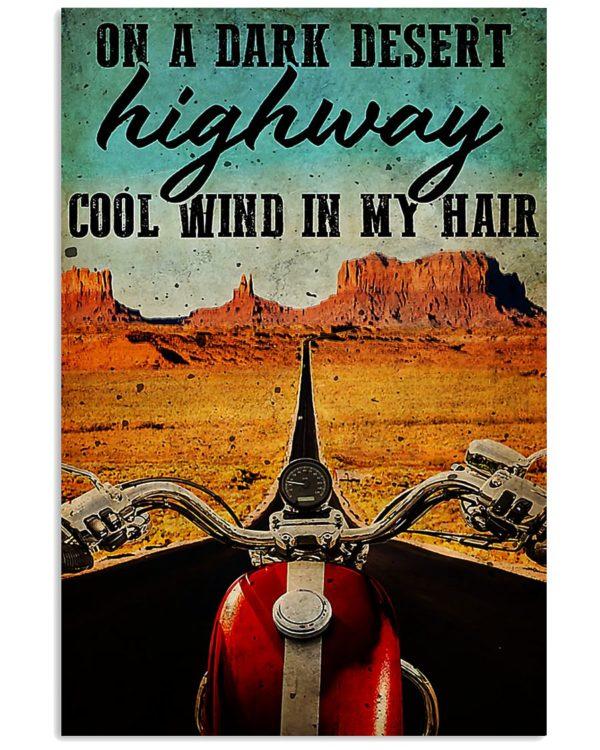 Motorcycle On A Dark Desert Highway Cool Wind In My Hair Vintage Poster, Canvas