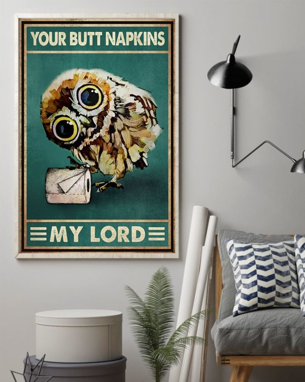 Owl Your Butt Napkins My Lord Vintage Poster, Canvas