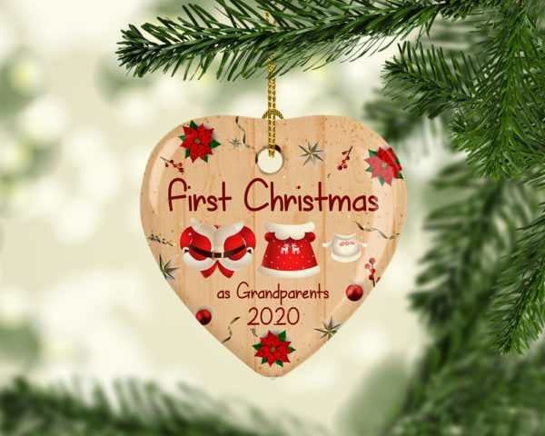 First Christmas As Grandparents 2020 Heart Christmas Ornament Tree