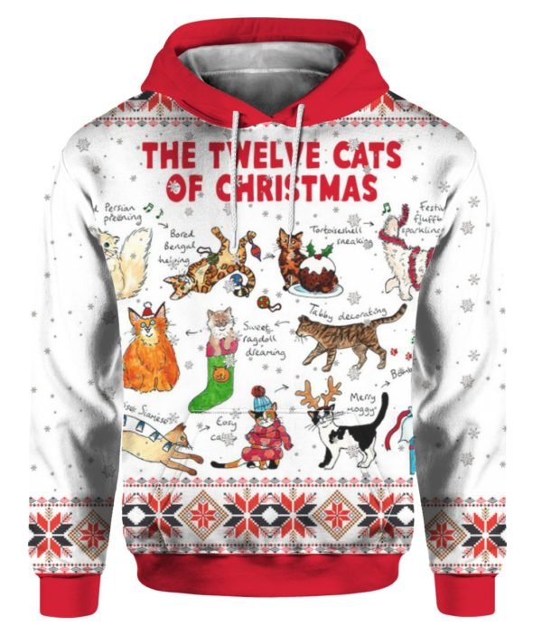 The Twelve Cats of Christmas 3D Ugly Christmas Sweater Hoodie