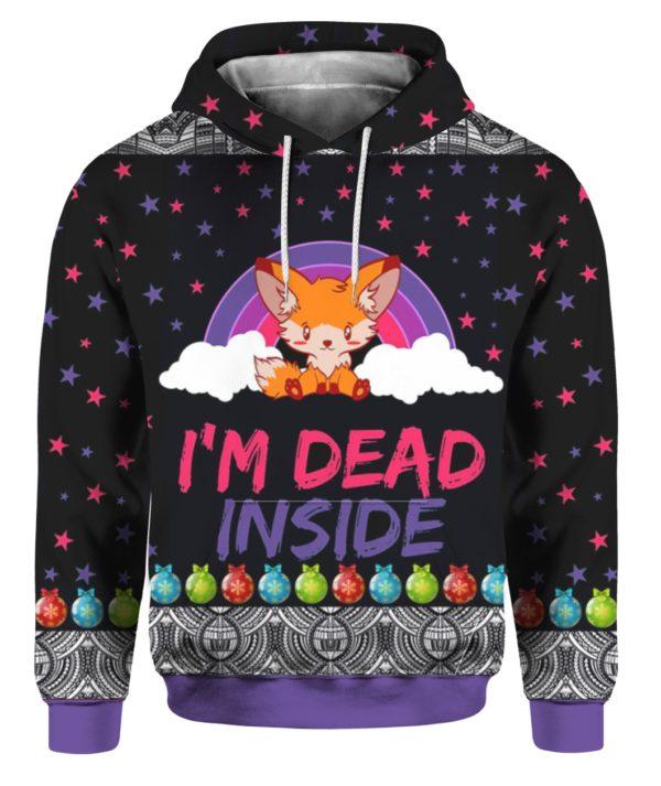 Fox I'm Dead Inside 3D Ugly Christmas Sweater Hoodie