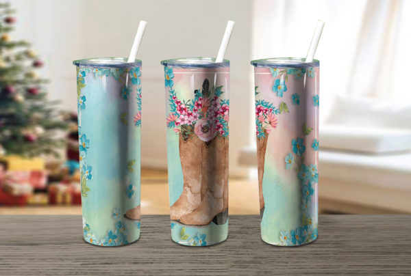 Cowgirl Boots Cowgirl Floral Country Skinny Tumbler